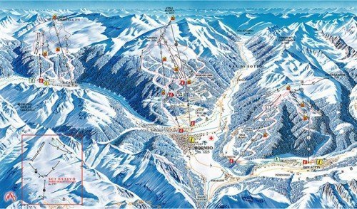 Italian Alps Ski Resorts TONALE OGA LIVIGNO Maps
